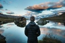 mountain lake person